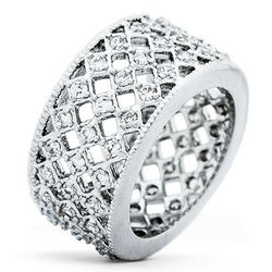 Lattice Cubic Zirconia Eternity Band