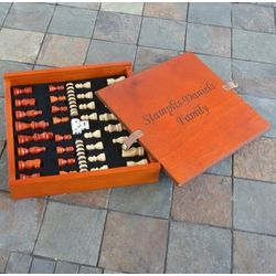 Personalized Wooden Deluxe Chess, Checkers & Backgammon Set