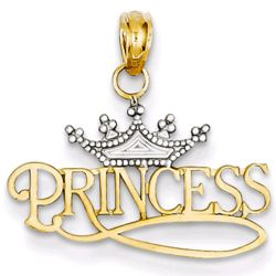 Princess Charm with Crown in 14 Karat Gold