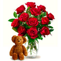 One Dozen Red Roses in Glass Vase and Teddy Bear