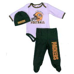 Infant's Green Bay Packers Football Helmet Creeper, Pants & Hat