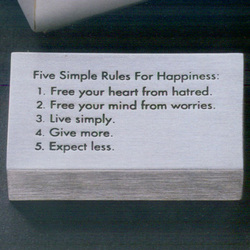 Five Simple Rules for Happiness Paperweight