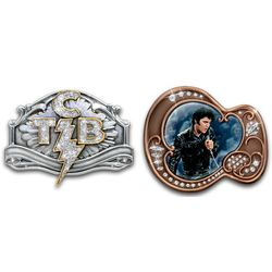 Elvis Presley TCB and Guitar Fashion Belt Buckles