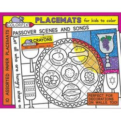 Passover Scenes and Songs Coloring Placemats