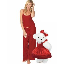"15"" Sweetheart Teddy Bear and Ruby Velour Lounge Set"