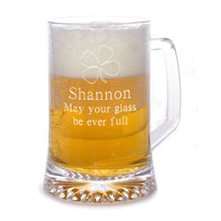Personalized Four Leaf Clover Beer Mug