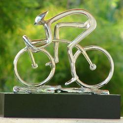 Sterling Cyclist Bronze Sculpture