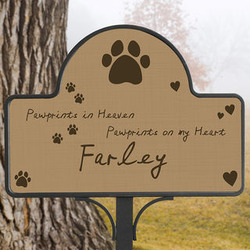 Personalized Pawprints In Heaven Pet Memorial Yard Stake