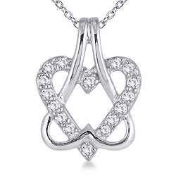 10K White Gold Diamond Double Heart Pendant