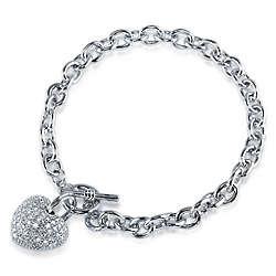 Cubic Zirconia Silver Tone Puffed Heart Charm Bracelet