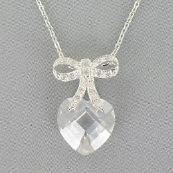 Heart and Bow Cubic Zirconia Necklace