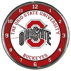 Ohio State Buckeyes Round Wall Chrome Clock