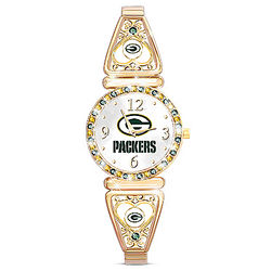 Green Bay Packers Women's Watch with Team Color Crystals