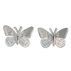Monarch Butterfly Medium Sterling Silver Button Earrinngs