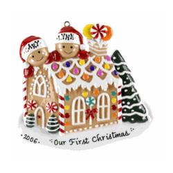 Gingerbread House Ornament with 2 Names