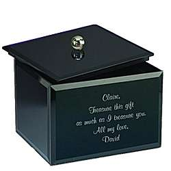 Black Glass Personalized Keepsake Box