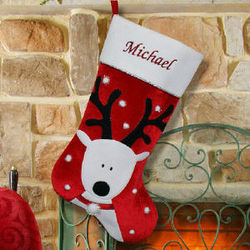 Embroidered Reindeer Christmas Stocking