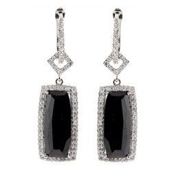 Designer Style Black Onyx CZ Rectangle Drop Earrings