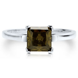 Sterling Silver Princess Peridot Cubic Zirconia Solitaire Ring