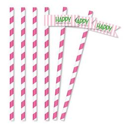 Classic Carnival Pink and Green Birthday Straws