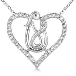 10K White Gold Mother and Baby Diamond Heart Pendant