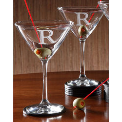 Personalized Martini Glass Set with Initial Monogram