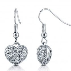 Cubic Zirconia Silver Tone 3D Puffed Heart Dangle Earrings