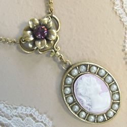 Lady Mary Purple Cameo Necklace