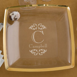 Engraved Monogram Gold Trim Serving Platter