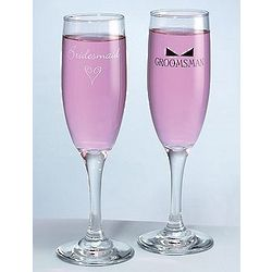 Heart and Bow Tie Bridesmaid and Groomsman Flutes
