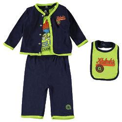 Baby's Wise Guy's Bodysuit, Cardigan, Pants, and Bib
