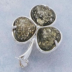 Green Amber Shamrock Brooch