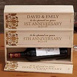 Personalized Anniversary Wooden Wine Box