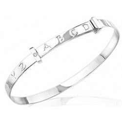 Adjustable Silver Alphabet Baby Bangle with Diamond