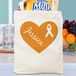 Personalized Heart Ribbon Canvas Tote Bag
