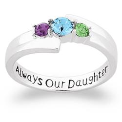 Sterling Silver Always Our Daughter Birthstone Ring
