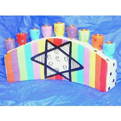 Handpainted Ceramic Menorah