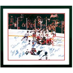 Framed Autographed Team Photo of The Miracle On Ice