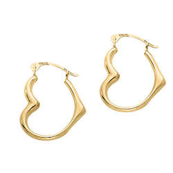 14k Yellow Gold Heart Hoop Earrings