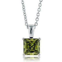 Sterling Silver Peridot Princess Solitaire Necklace