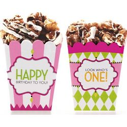 Classic Carnival Birthday Pink and Green Treat Boxes