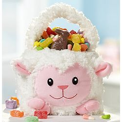Fuzzy Lamb Plush Easter Basket
