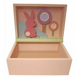 Pink Bunny Shadowbox Art Keepsake Box