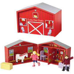 Portable Wooden Lucky Stable Play Set