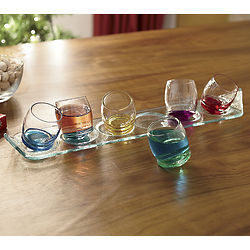 Tinted Moon Shot Glasses with Tray