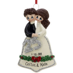 Personalized 25th Wedding Anniversary Christmas Ornament
