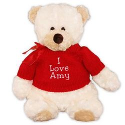 Embroidered Any Message Red T-Shirt Teddy Bear