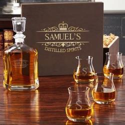 Kensington Personalized Whiskey Decanter and Glencairn Glasses