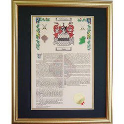 Personalized Family Name History and Coat of Arms Framed Print