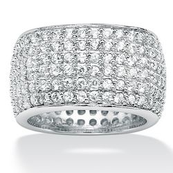 Sterling Silver DiamonUltra Cubic Zirconia Eternity Band
